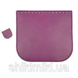 Клапан для сумки из натуральной кожи (20*18), цвет пурпурный