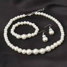 Набор украшений с жемчугом - в набор входит браслет, ожерелье, серьги, пластик, сплав