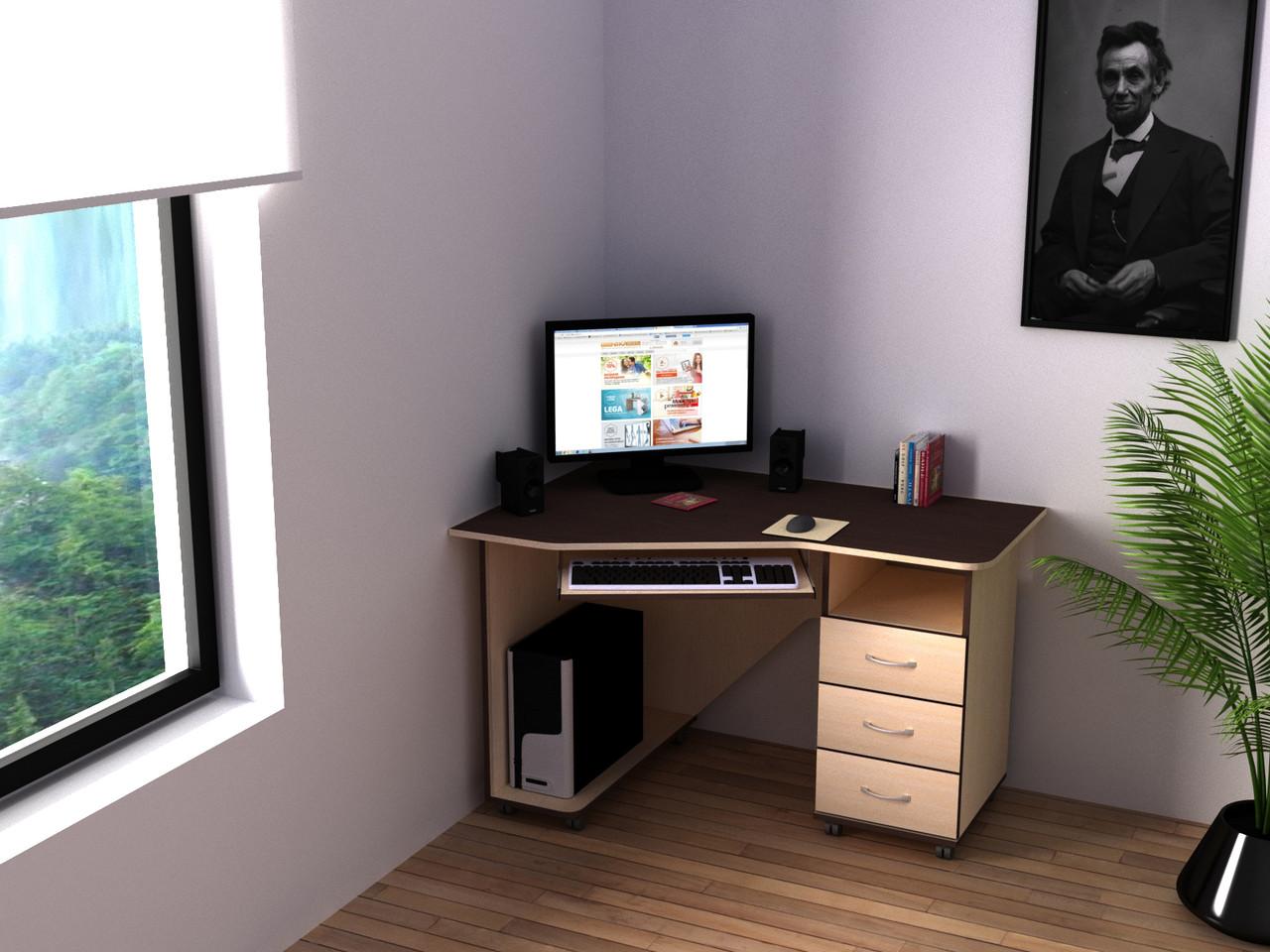 Компьютерный угловой стол Флеш-Ника Ника 40 с надстройкой