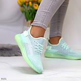 Удобные мягкие текстильные тканевые серые мятные женские кроссовки, фото 2