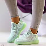 Удобные мягкие текстильные тканевые серые мятные женские кроссовки, фото 6