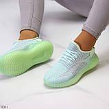 Удобные мягкие текстильные тканевые серые мятные женские кроссовки, фото 7