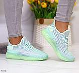 Удобные мягкие текстильные тканевые серые мятные женские кроссовки, фото 9