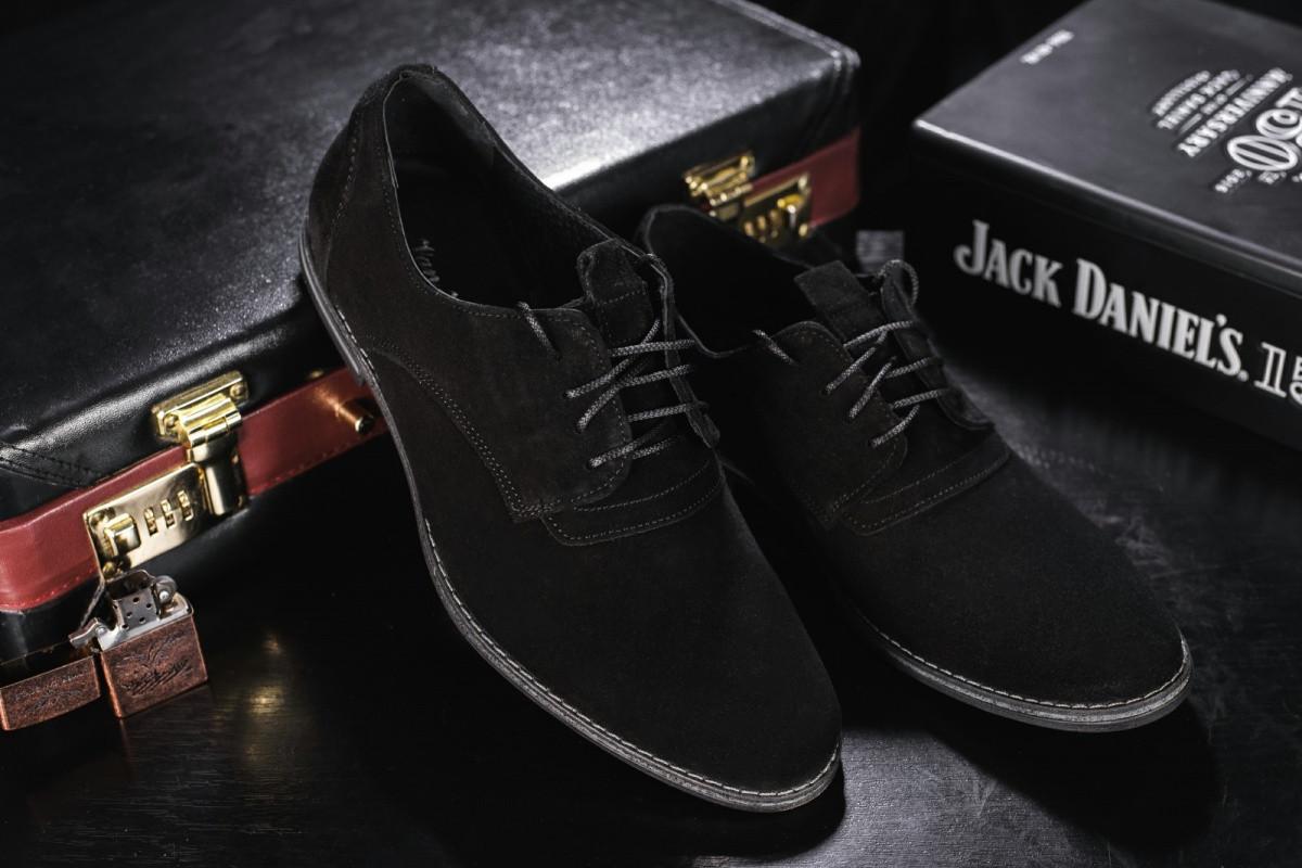 Мужские туфли замшевые весна/осень черные Vankristi 343