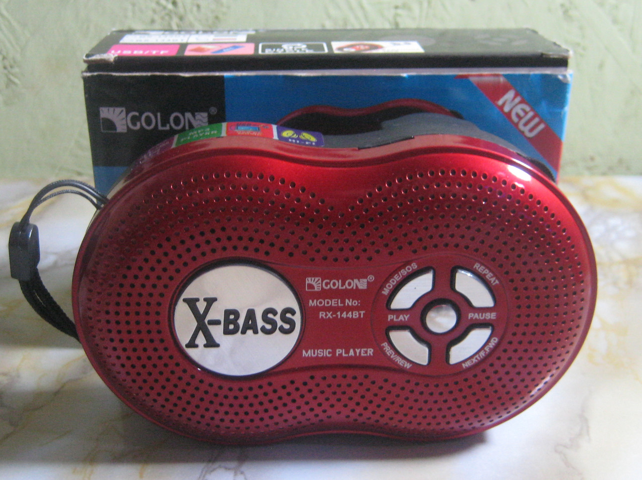 Радіоприймач Golon RX-143BT (USB, SD, акумулятор) (червоний)