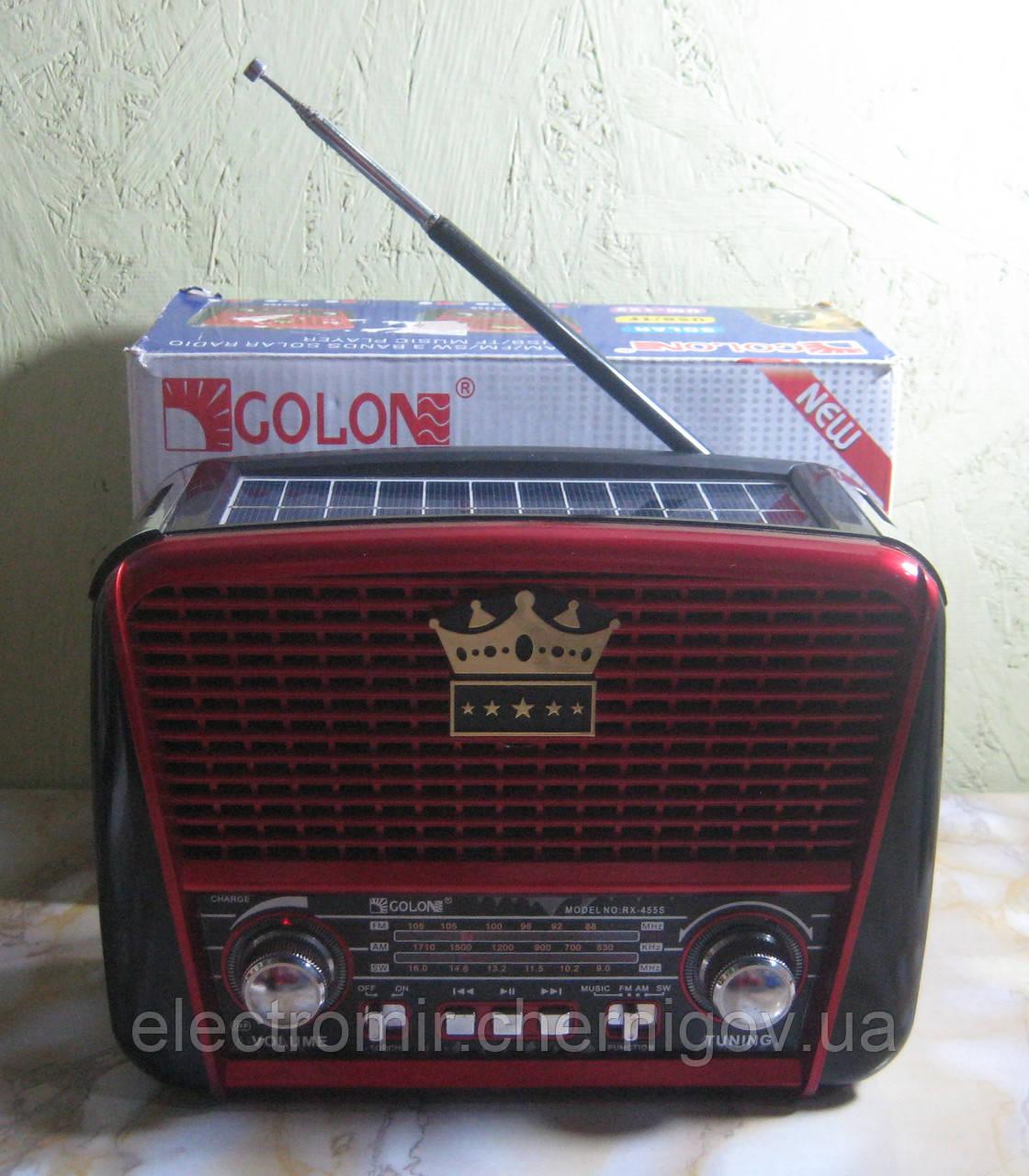 Радіоприймач Golon RX-455S з USB і сонячної зарядкою (червоний)