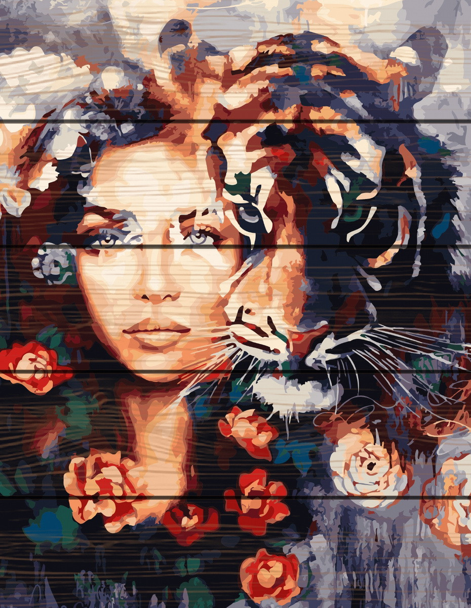Картина по номерам на дереве Глаза тигра 40*50 см. Rainbow Art