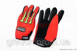 Мотоперчатки мужские для города красные M, L, XL эластан Monster