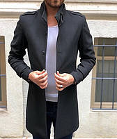Элегантное кашемировое пальто c воротом стойкой