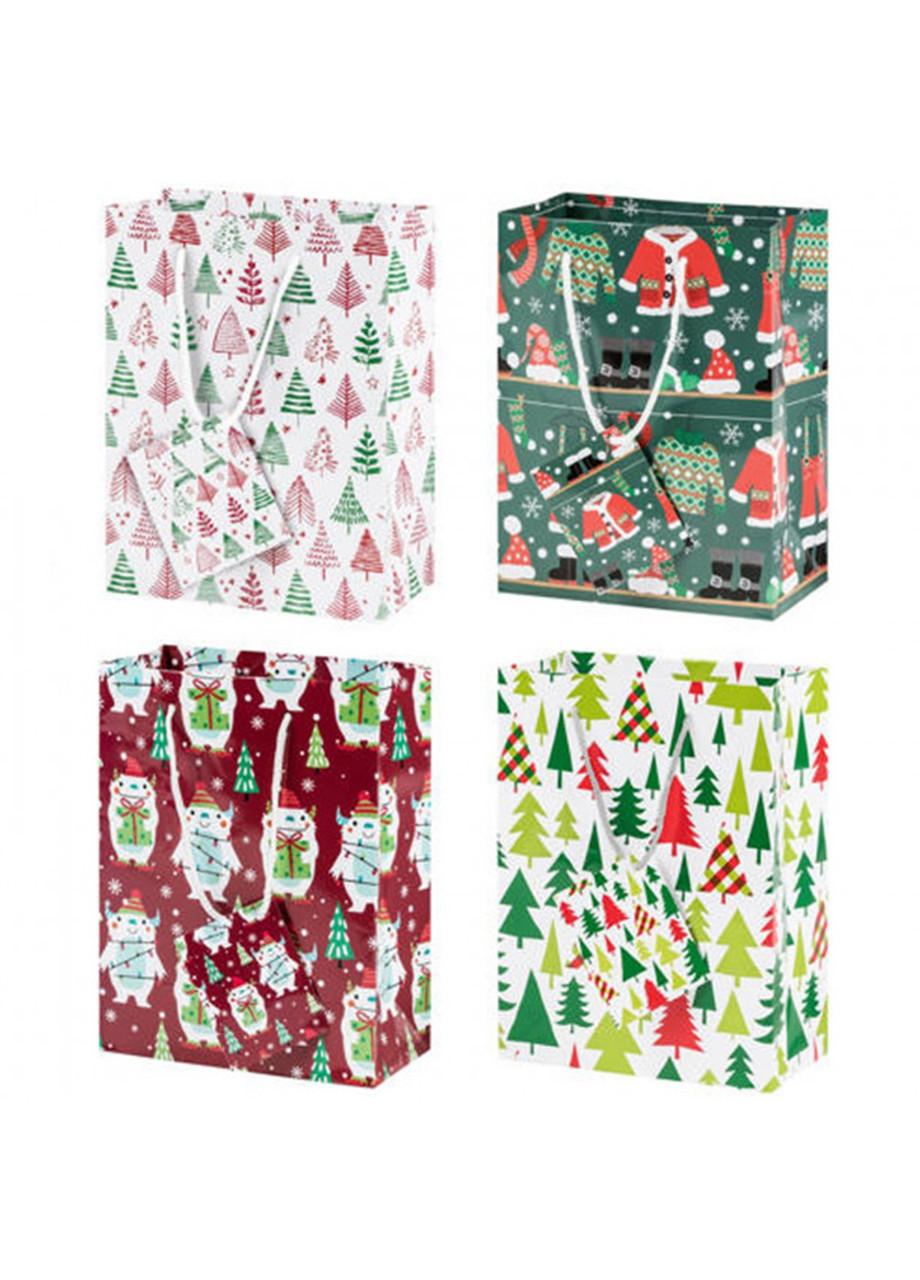 Набір декоративних подарункових пакетів Melinera 33х29х15 4 шт різнобарвний (H1-570408)
