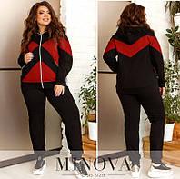 Женский стильный спортивный костюм №17-254 (р.50-64) чорний-червоний, фото 1