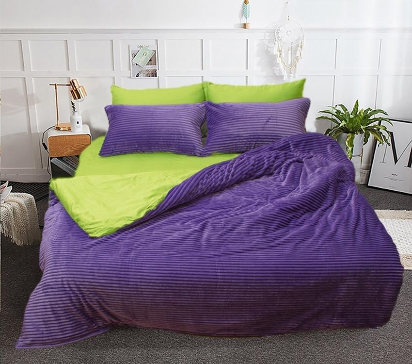 Двуспальный комплект постельного белья зима-лето Фиолетовый с плюшем