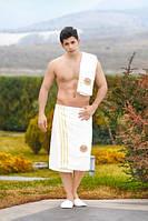 Набор для сауны и бани Килт+полотенце+тапочки Белый