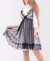 Оригинальное молодежное кружевное летнее платье сетка, модная женская накидка