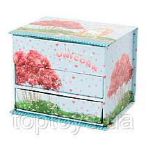 Шкатулка скринька Malevaro для прикрас Єдиноріг з 2 висувними ящиками (GB05-0701)