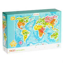"""Пазли """"Карта світу"""", 100 елементів (російська мова) 300110/100110"""