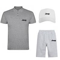 Мужской летний костюм (поло/шорты/кепка) Джип, костюм Jeep хлопок, ТОП качества.