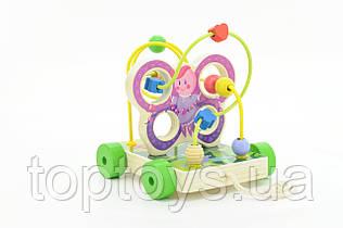 Іграшки з дерева Світ дерев'яних іграшок Лабіринт каталка Метелик (Д116)