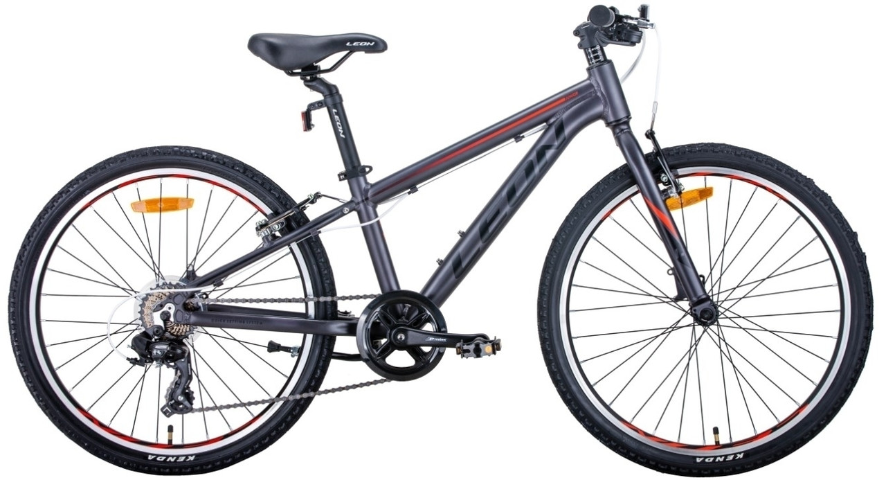 """Велосипед 24"""" Leon JUNIOR 2020 (антрацитовий з червоним (м))"""