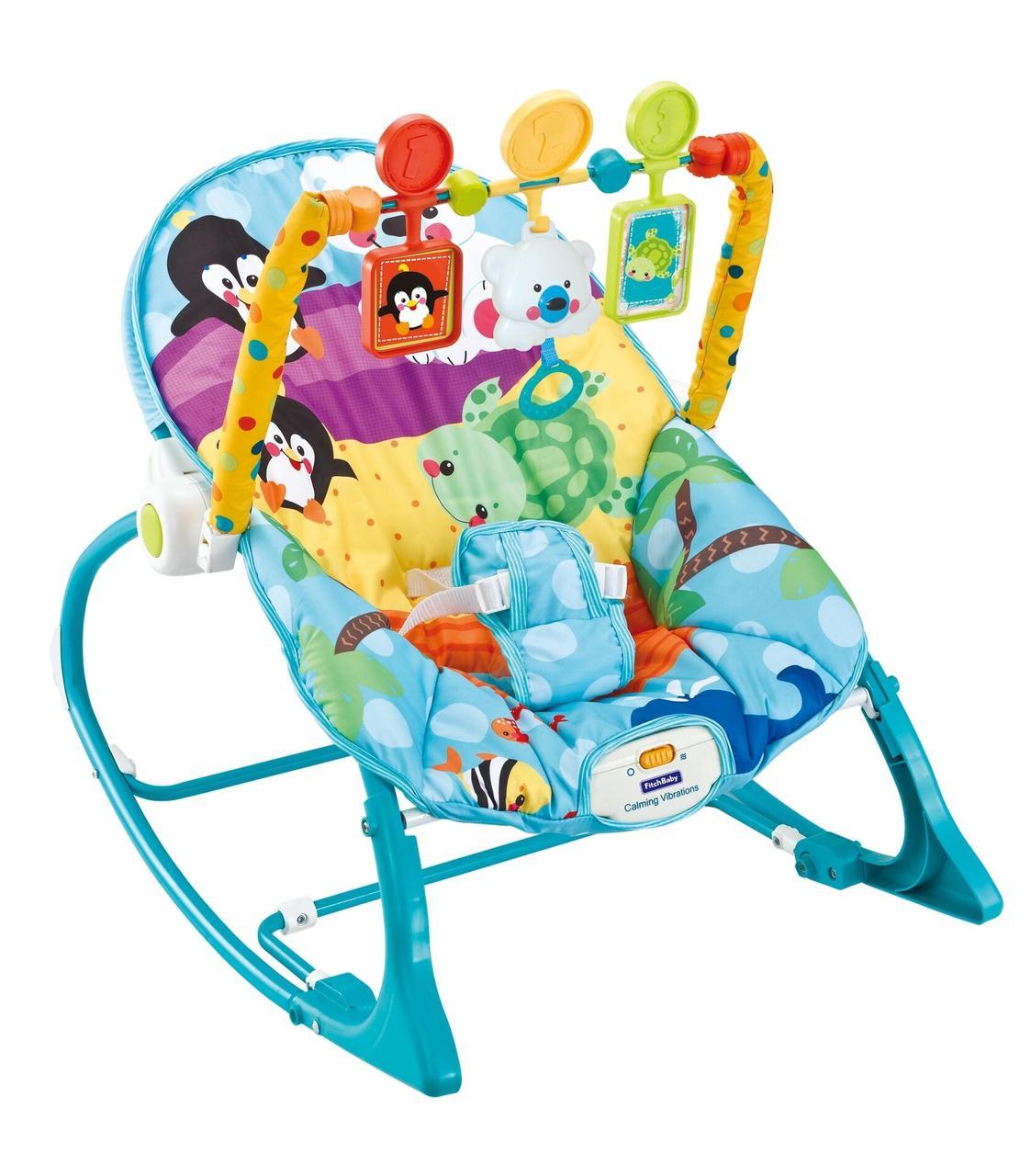 Детский шезлонг-качалка 2 в 1 FitchBaby 8615, 0-18 кг, вибрация и мелодия