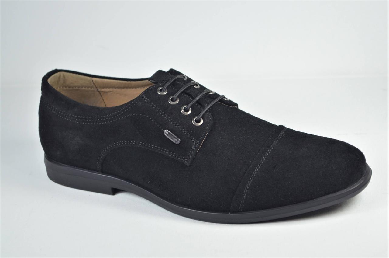 Мужские комфортные замшевые туфли на резинке черные Cevivo 4715