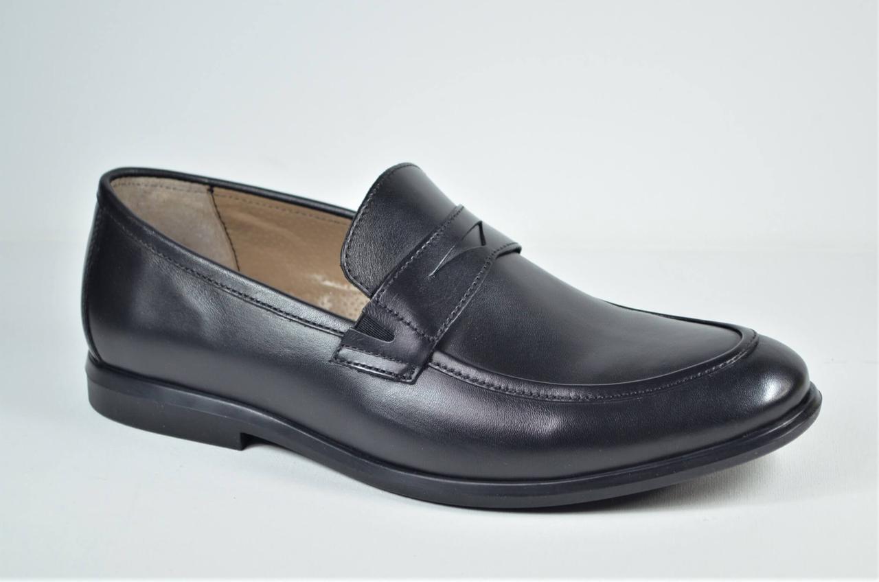 Мужские кожаные туфли лоферы черные Cevivo 4792