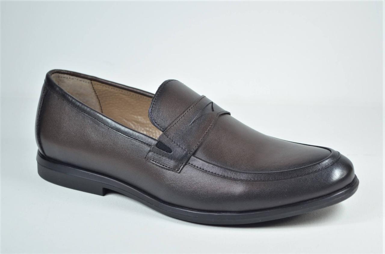Мужские кожаные туфли лоферы коричневые Cevivo 4792