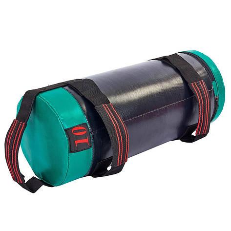 Мешок для кроссфита и фитнеса UR FI-6574-10 (PVC, нейлон, вес 10кг, р-р 56x22см, черный-зеленый), фото 2