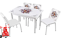 Обеденная группа комплект кухонной мебели стол и стулья,Buk90 каленное стекло с оригинальным декором для кухни