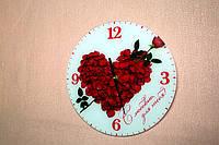 Часы на стекле с вашим фото круглые d=30см интерьерные сувенирные