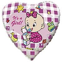 """Фольгированный шар с рисунком Flexmetal Круг 18"""" младенец девочка"""