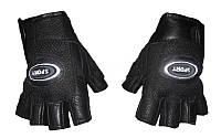 Спортивные перчатки мужские без пальцев для фитнеса кожаные