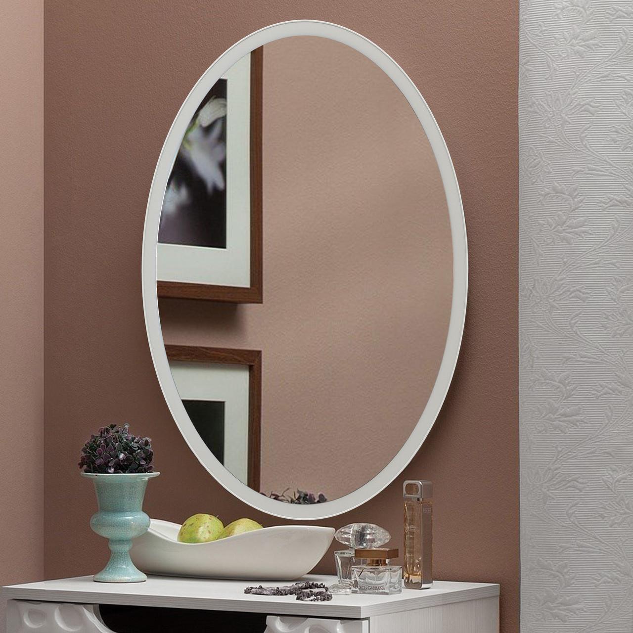 Зеркало овальное 700х500 мм белый
