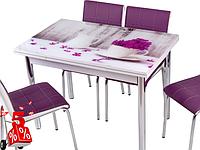 Обеденная группа комплект кухонной мебели стол и стулья,Vaz90 каленное стекло с оригинальным декором для кухни