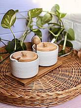 Набір цукорниць 375мл з ложками (2 шт) на бамбуковій підставці Naturel мереживо