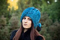 Женская меховая шапка-кубанка цвет изумруд