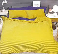 Постельное белье сатин и плюш Желтый, комплект евро