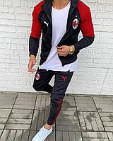 Футбольний спортивний костюм чоловічій FC Milan чорний з червоним Мужской спортивный костюм фк Милан чёрный