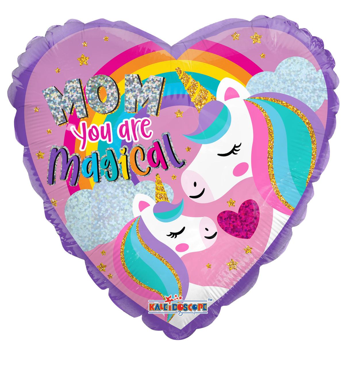 """К 18"""" Mom Unicorn Holographic. Фольгированный шар сердце  - Мама ты Волшебна"""