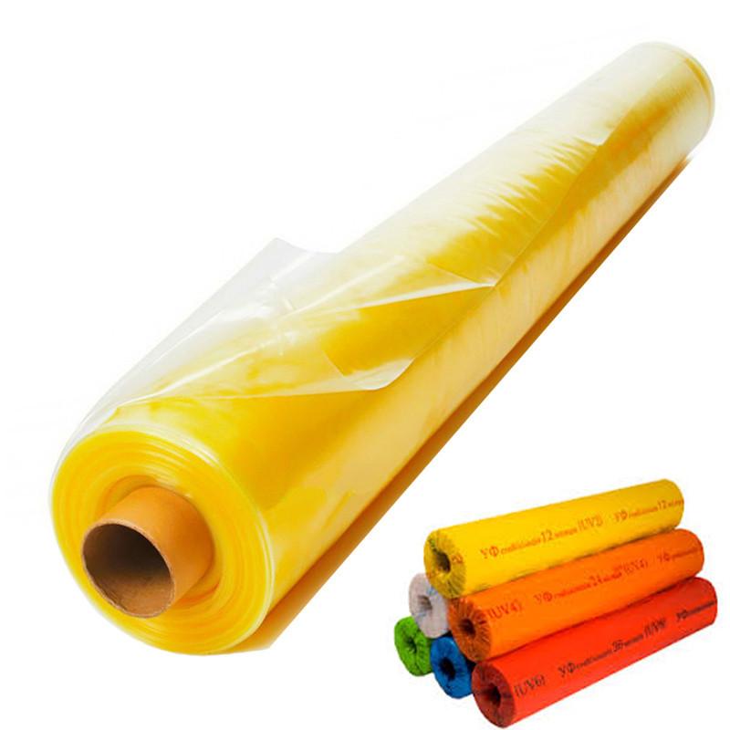 Пленка тепличная 6м х 50м 100мк  2х сезонная уф-стабилизированная полиэтиленовая для теплицы, парника, желтая.