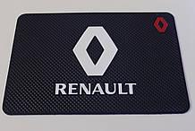 Антиковзаючий силіконовий килимок на торпедо з логотипом Renault v2 Рено