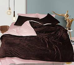 Постельное белье сатин и плюш Коричневый, комплект евро