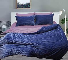 Постельное белье сатин и плюш Синий, комплект евро