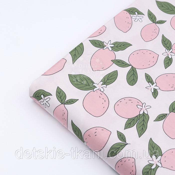 """Лоскут сатина """"Розовые лимоны"""" №3112с, размер 40*80 см"""