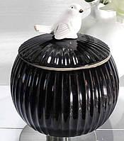 Фарфорова шкатулка з пташкою 750 мл