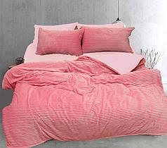 Постельное белье сатин и плюш Розовый, комплект евро