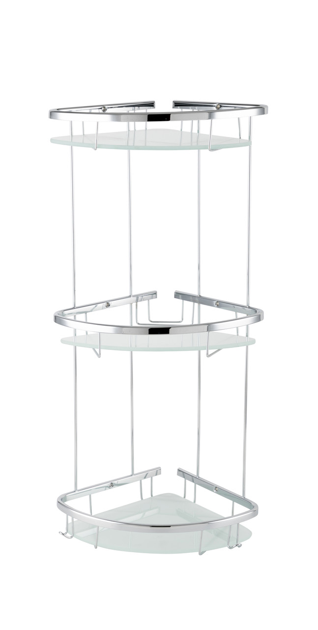 Полка для ванной тройная со стеклом 19x19