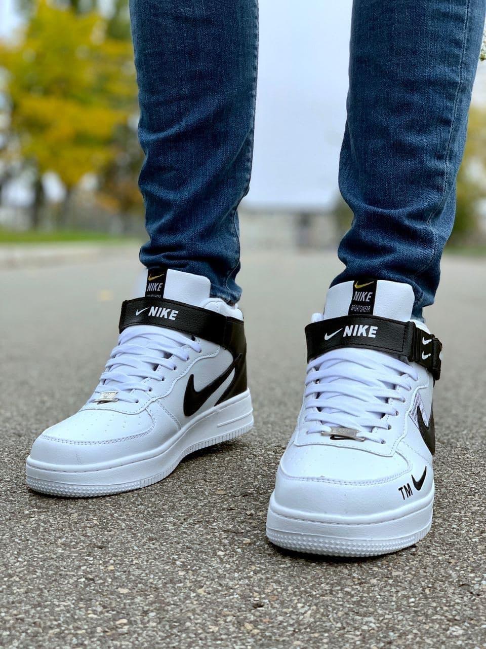 Чоловічі кросівки Nike AirForce чорні з хутром всередині 41/42/43/44/45/46