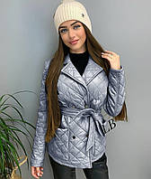 Куртка женская полупальто короткая стеганая с пояском