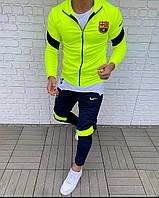 Салатовий футбольний спортивний костюм фк Барселона Мужской футбольный костюм FC Barselona салатовый с синим